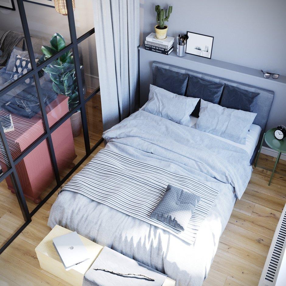 Фотография: Спальня в стиле Скандинавский, Квартира, Проект недели, Санкт-Петербург, 1 комната, 40-60 метров, Монолитно-кирпичный, Студия 20:18 – фото на InMyRoom.ru