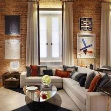 Фотография: Гостиная в стиле Лофт, Квартира, Дома и квартиры, Стеллаж, Барная стойка – фото на InMyRoom.ru