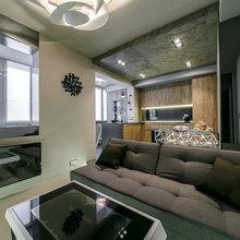 Фотография: Гостиная в стиле Лофт, Кухня и столовая, Квартира, Архитектура, Мебель и свет, Прочее, Проект недели, Переделка – фото на InMyRoom.ru