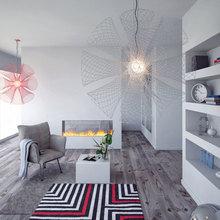 Фотография: Гостиная в стиле Эклектика, Декор интерьера, Дизайн интерьера, Цвет в интерьере, Серый – фото на InMyRoom.ru