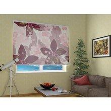 Рулонные шторы в гостиную: Бордовые цветы