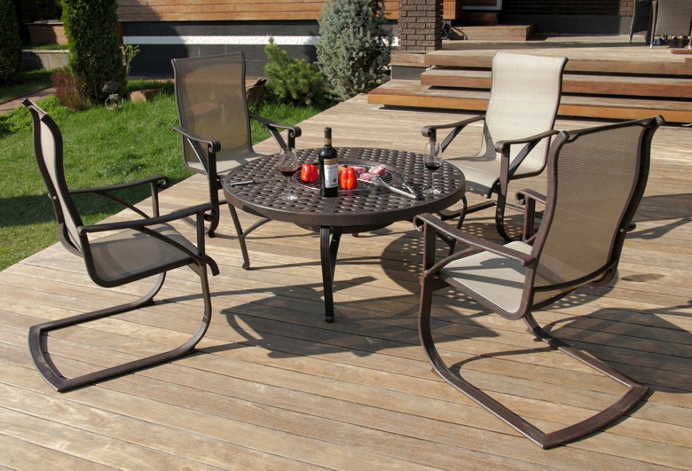 Набор садовой мебели из литого алюминия Этна стол с барбекю на четыре персоны, inmyroom  - Купить