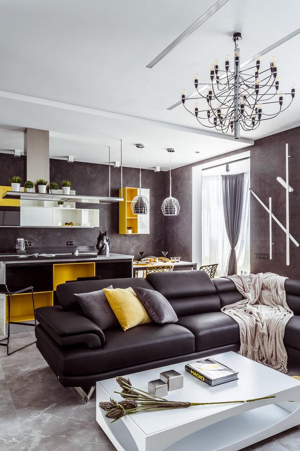 """Фото из портфолио Фото гостиной реализованного проекта квартиры, расположенной в ЖК """"Адмирал"""".  – фотографии дизайна интерьеров на INMYROOM"""