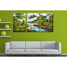 Триптих на холсте: Водопад в лесу