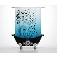 Штора для ванной: Ноты скрипки