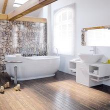 Фотография: Ванная в стиле Кантри, Современный, Декор интерьера, Декор дома, Стены, Картины, Фотообои – фото на InMyRoom.ru