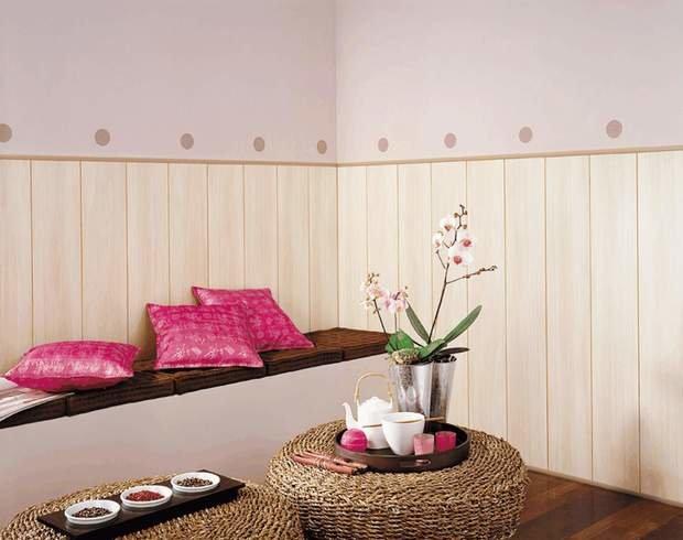 Фотография: Гостиная в стиле Восточный, Обои, Переделка, Плитка, Краска, Стеновые панели – фото на InMyRoom.ru