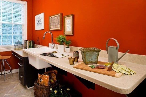 Фотография: Кухня и столовая в стиле Современный, Декор интерьера, Дизайн интерьера, Цвет в интерьере, Оранжевый – фото на InMyRoom.ru