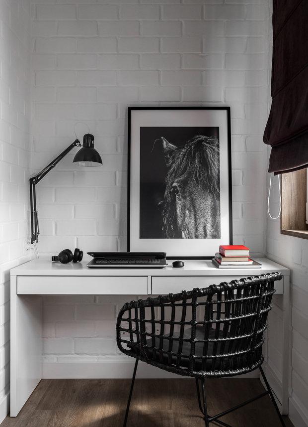 Фотография: Кабинет в стиле Скандинавский, Современный, Квартира, Проект недели, Челябинск, 3 комнаты, Более 90 метров, Анна Важенина – фото на INMYROOM