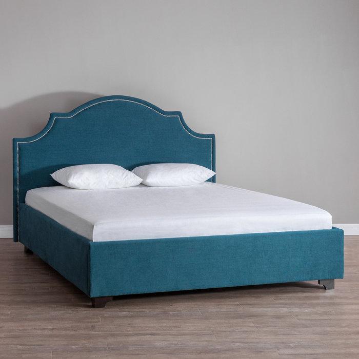 Кровать Bright Mind с обивкой из льна изумрудного цвета 200х200