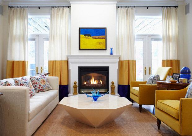 Фотография: Гостиная в стиле Эклектика, Декор интерьера, Текстиль, Шторы – фото на InMyRoom.ru