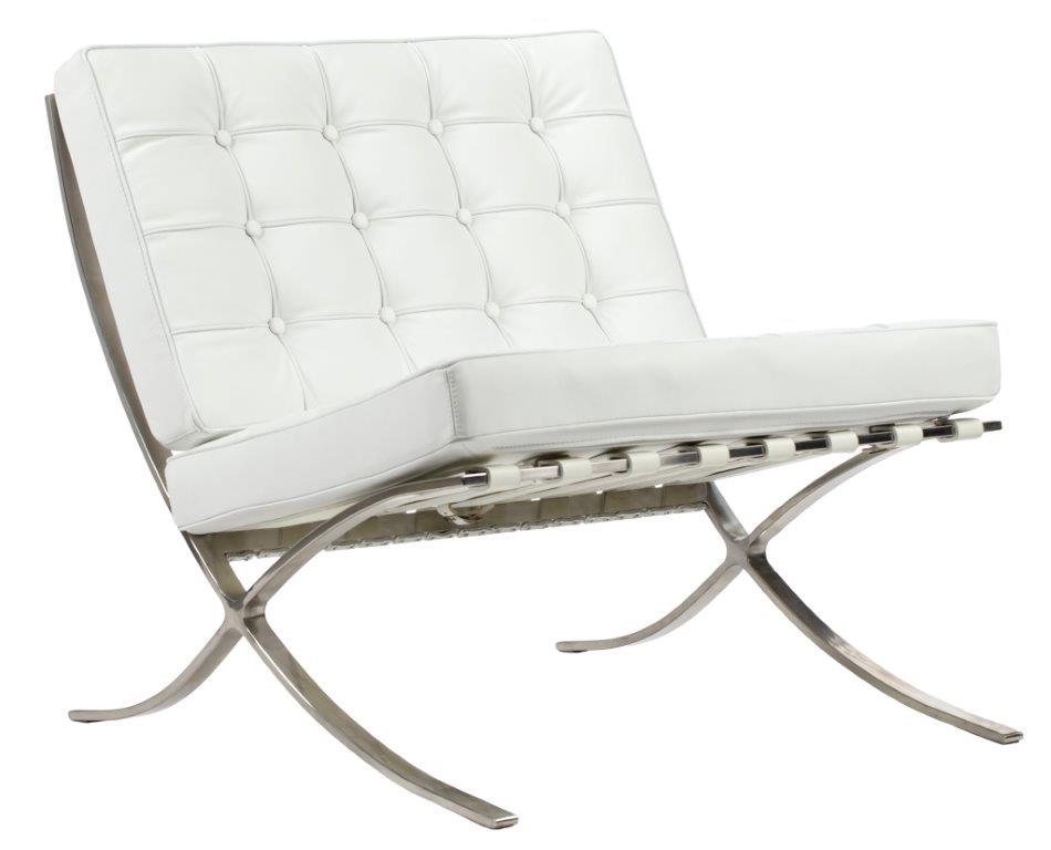 Купить Кресло Barcelona Chair белая кожа, inmyroom