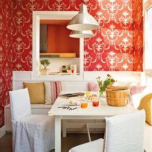 Фотография: Кухня и столовая в стиле Современный, Квартира, Цвет в интерьере, Дома и квартиры, Пентхаус, Красный – фото на InMyRoom.ru