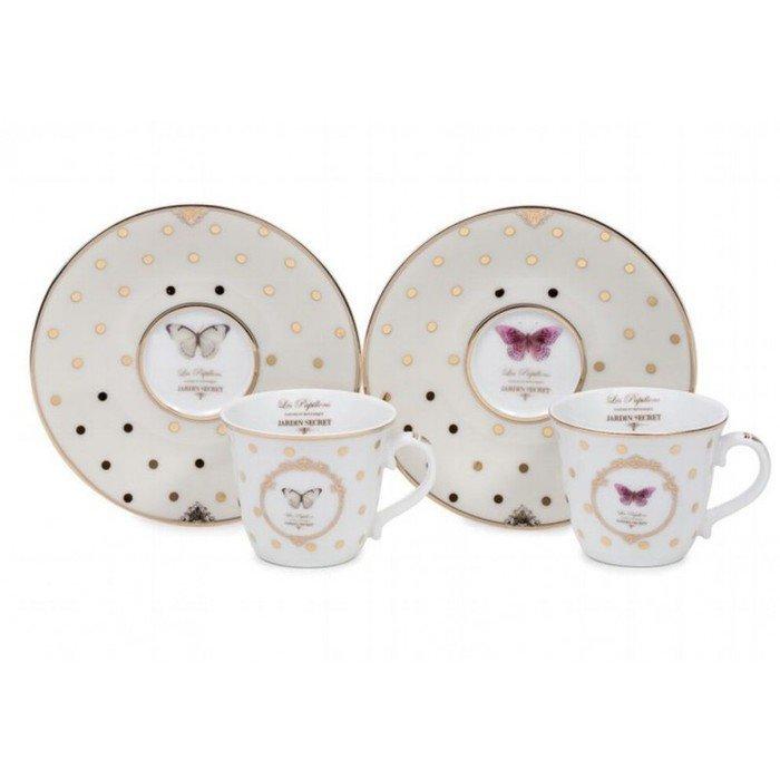Набор из двух кофейных чашек с блюдцем Элеганс-Бабочки
