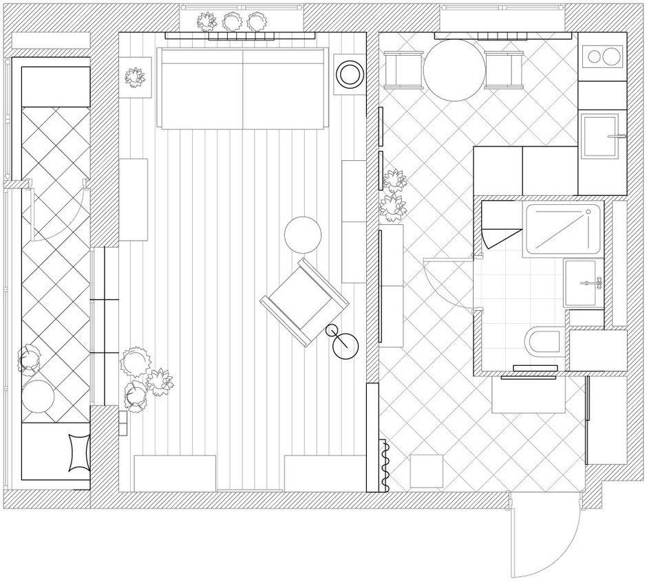 Фотография:  в стиле , Эклектика, Квартира, Студия, Проект недели, Москва, Зеленый, Синий, Серый, Розовый, Голубой, Фуксия, паркет, керамическая плитка, маленькая кухня, без перепланировки, римская штора, Ирина Лаврентьева, как обустроить балкон, обустроить типовой балкон, ремонт на балконе идеи, балкон в типовой квартире, дизайн маленькой комнаты, животные дома, если в доме есть животные, обустройство однушки, читальня на балконе, плитка на кухне, дизайн типовой однушки, покрытие паркет, Анастасия Каменских, Lavka-design, яркий интерьер, до 40 метров – фото на InMyRoom.ru
