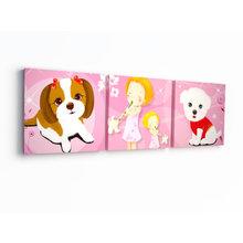 Триптих на холсте: Забавные щенки