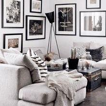 Фотография: Гостиная в стиле Скандинавский, Декор интерьера, Мебель и свет, Советы, Белый, как оформить пустой угол, пустой угол в квартире – фото на InMyRoom.ru