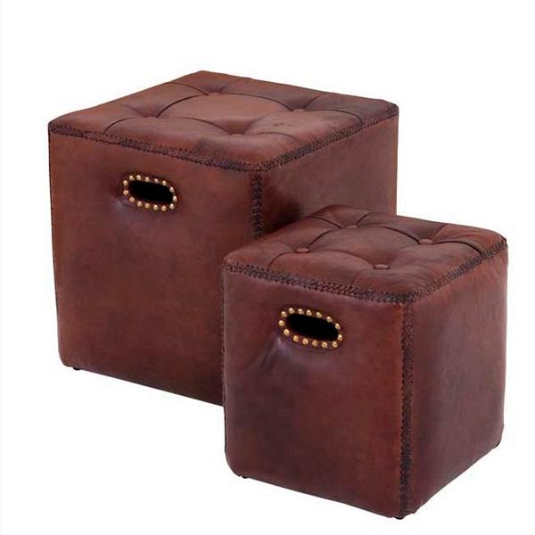 Купить Комплект Eichholtz The Pierre из двух пуфов обтянутые кожей коричневого цвета 48х46 см, inmyroom, Нидерланды