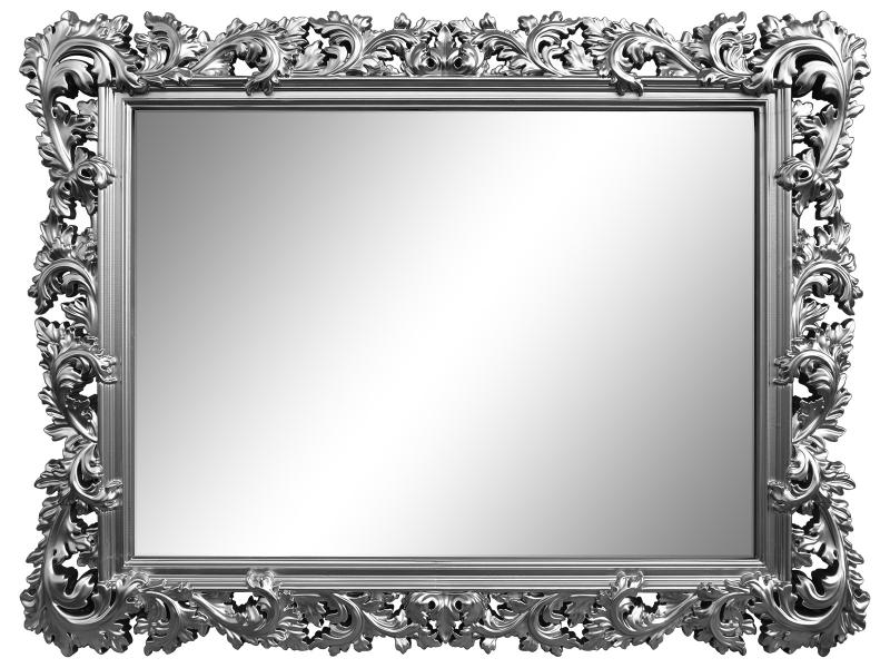 Настенное зеркало алиана в раме серебряного цвета