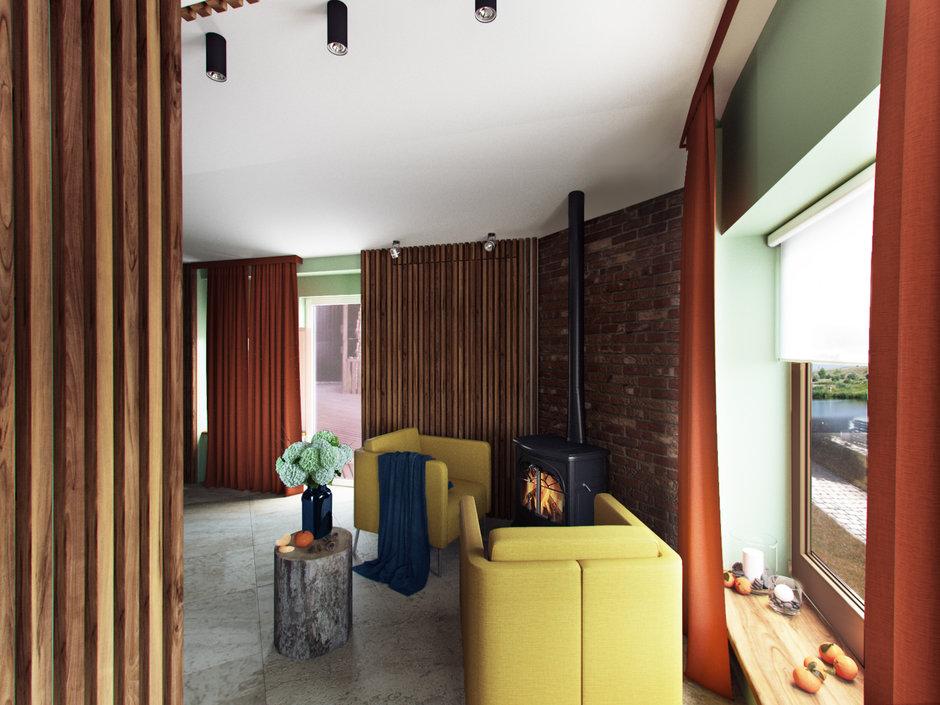 Фотография: Гостиная в стиле Эко, Дом, Проект недели, Дача, Волгоград, 4 и больше, Более 90 метров, Дизайн-студия Leгко – фото на InMyRoom.ru