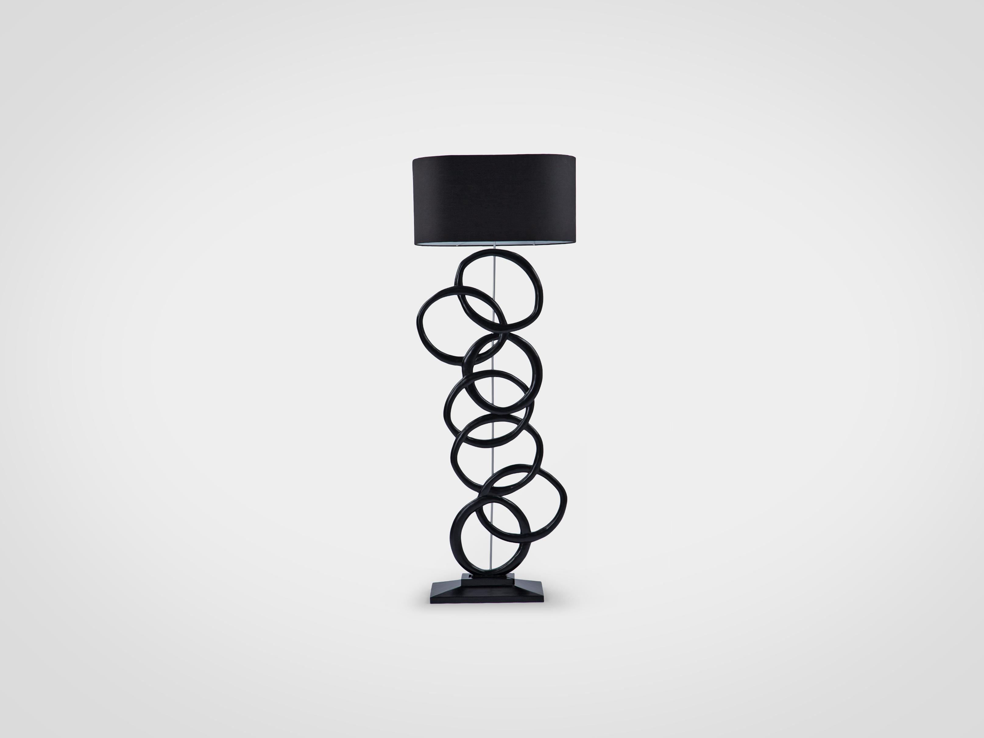 Купить Лампа напольная на декоративной ножке ручной работы из дерева махагони, inmyroom, Индонезия
