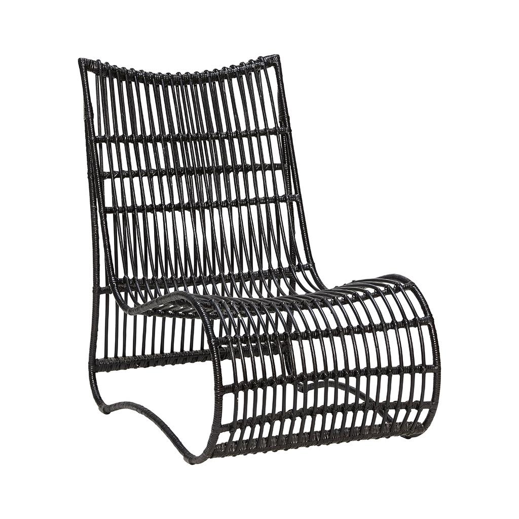 Кресло лаунж из ротанга черного цвета