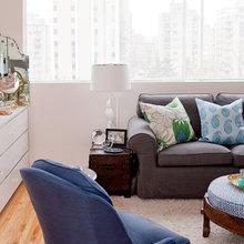 Фотография: Гостиная в стиле Современный, Декор интерьера, Малогабаритная квартира, Квартира, Цвет в интерьере, Дома и квартиры, Стены – фото на InMyRoom.ru