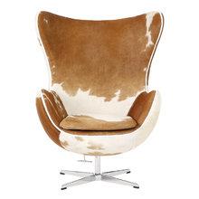 "Кресло ""Egg Chair"" Коричнево-белое Кожа Пони Класса Премиум"