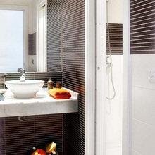 Фотография: Ванная в стиле Современный, Лофт, Квартира, Цвет в интерьере, Дома и квартиры, Белый, Лестница – фото на InMyRoom.ru