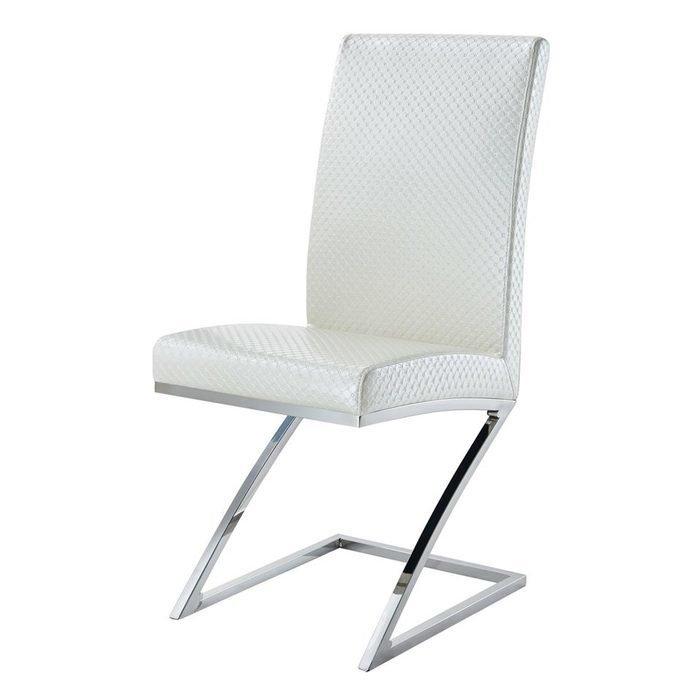 Белый стул на металлических ножках