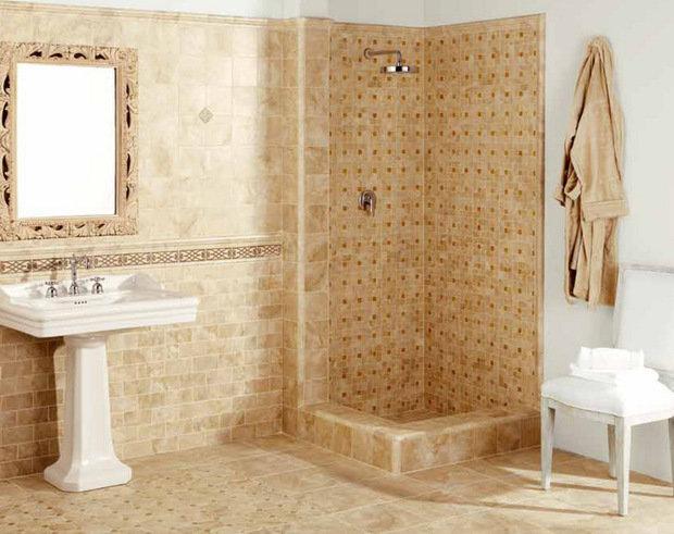 Фотография: Ванная в стиле Классический, Обои, Переделка, Плитка, Краска, Стеновые панели – фото на InMyRoom.ru