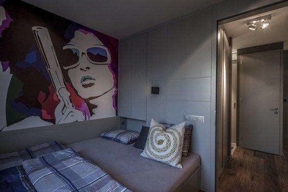 Фотография: Спальня в стиле Современный, Малогабаритная квартира, Квартира, Цвет в интерьере, Дома и квартиры, Серый, Умный дом, Будапешт – фото на InMyRoom.ru