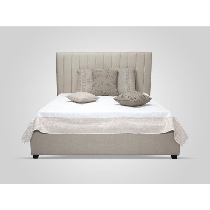Кровать с обивкой из ткани бежевого цвета 160х200
