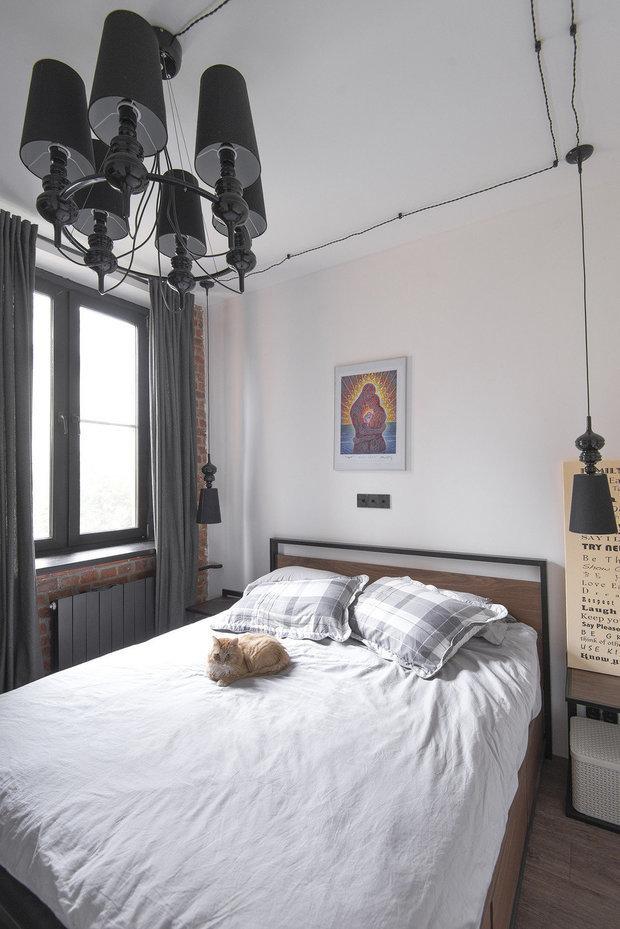 Фотография: Спальня в стиле Лофт, Квартира, Советы, Отделка стен, Loggia, покраска стен, декоративная отделка стен – фото на INMYROOM