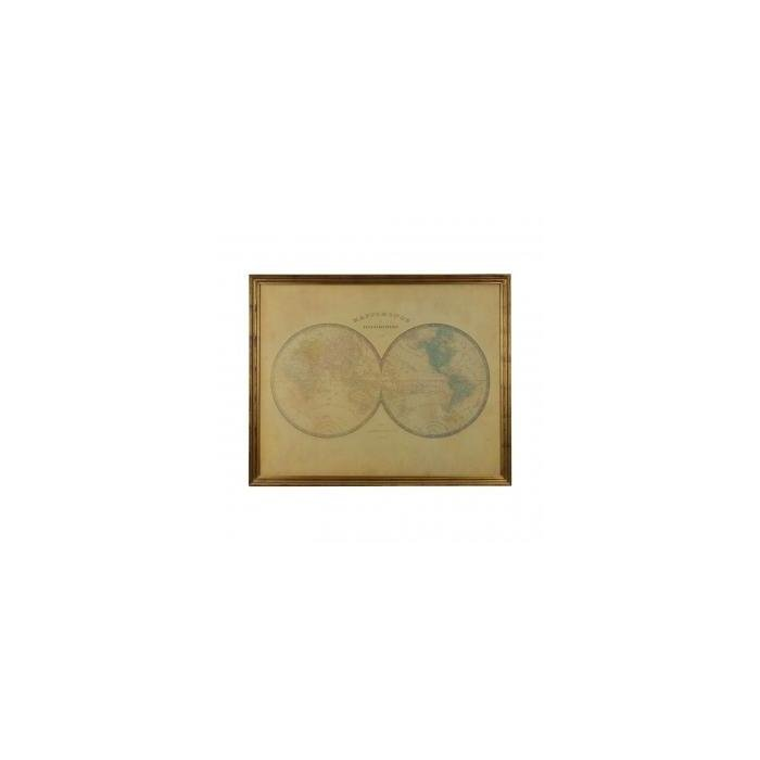 Декор на стену карта Royal Gold Framed Hemisphere World Map