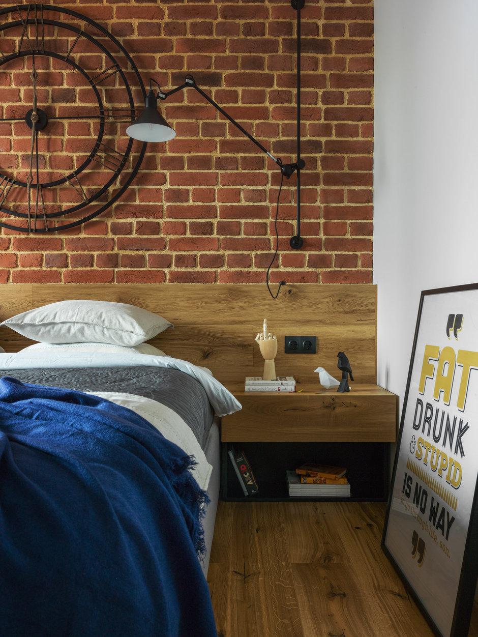 Фотография: Спальня в стиле Лофт, Современный, Квартира, Проект недели, Geometrium, Монолитный дом, 2 комнаты, 60-90 метров, ЖК «Сколковский» – фото на InMyRoom.ru