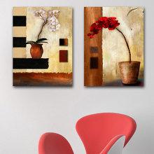 Декоративная картина на холсте: Орхидеи в горшке
