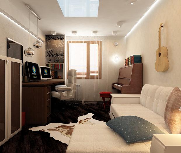 Фотография: Гостиная в стиле Современный, Кабинет, Интерьер комнат – фото на InMyRoom.ru