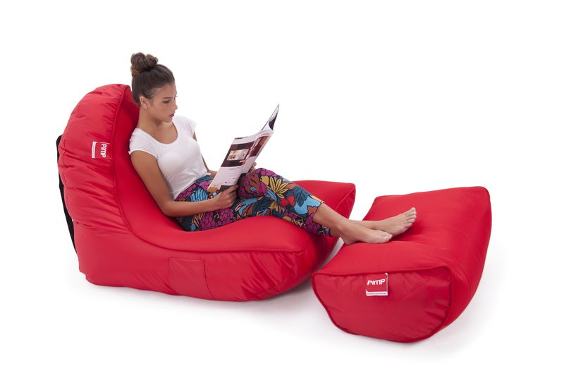 Набор из бескаркасного кресла и пуфа Pimp® v.i.p - Street Cred Red (красный)