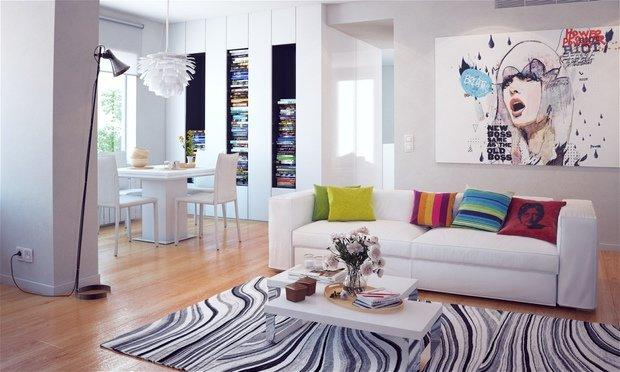 Фотография: Гостиная в стиле Современный, Декор интерьера, Дизайн интерьера, Цвет в интерьере, Белый, Синий, Серый – фото на InMyRoom.ru