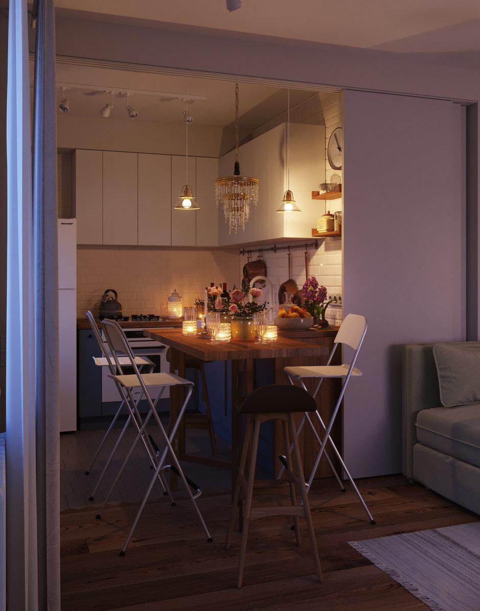 Фотография: Кухня и столовая в стиле Современный, Малогабаритная квартира, Квартира, Проект недели, Москва, Кирпичный дом, 2 комнаты, 40-60 метров, I-511 – фото на InMyRoom.ru