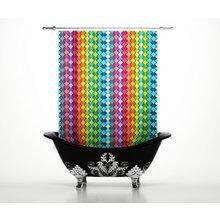 Шторки в ванну: Радужные ромбы