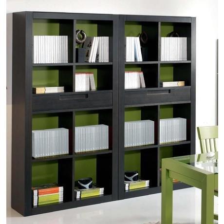 Книжный шкаф с выдвижными ящиками, отделка темный орех и оли.