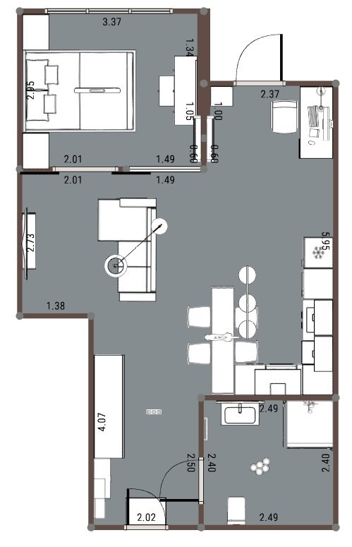 Прошу помощи с планировкой 1-комнатной квартиры