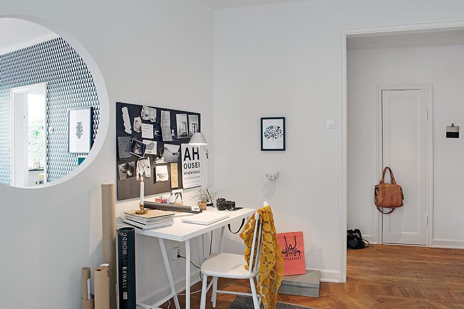 Фотография: Офис в стиле Скандинавский, Современный, Декор интерьера, Квартира, Швеция, Цвет в интерьере, Дома и квартиры, Белый, Гетеборг – фото на InMyRoom.ru