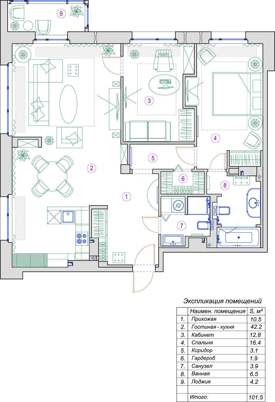Фотография: Планировки в стиле , Квартира, Проект недели, Санкт-Петербург, 3 комнаты, Более 90 метров, Монолитно-кирпичный, Студия элитного жилья Александра Акименкова – фото на InMyRoom.ru