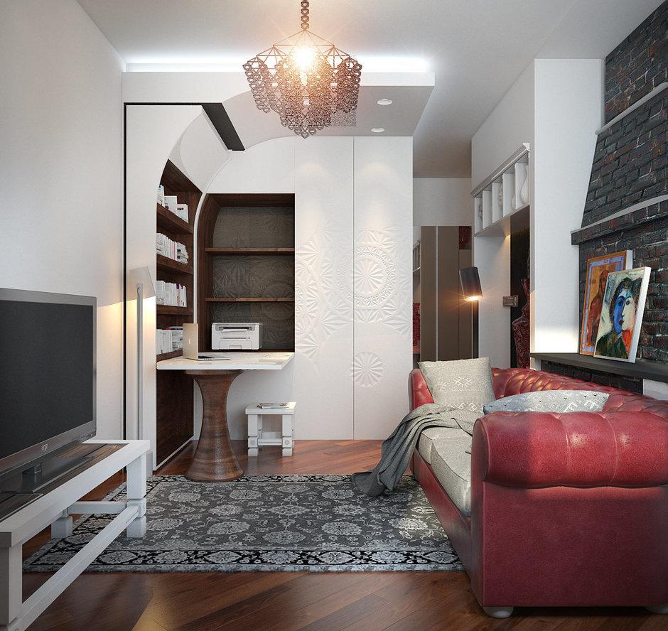 Фотография: Гостиная в стиле Эклектика, Квартира, Дома и квартиры, Проект недели – фото на InMyRoom.ru