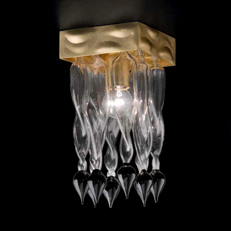 Купить Потолочный светильник Lamp di Volpato Patrizia Alaska из прозрачного стекла с кулонами белого цвета, inmyroom, Италия