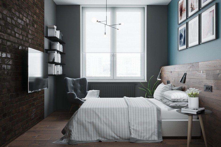 Фотография: Спальня в стиле Лофт, Квартира, Проект недели, Москва, Монолитный дом, 2 комнаты, 40-60 метров, CENS architects, ЖК «Технопарк» – фото на InMyRoom.ru