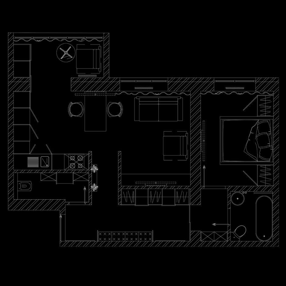 Фотография: Планировки в стиле , Квартира, Проект недели, Блочный дом, 2 комнаты, 40-60 метров, Юлия Штыкина, Ла Корунья – фото на InMyRoom.ru
